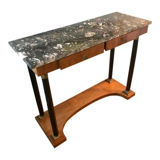 Art Deco Italian Marble Top Neoclassical 2 Drawer Restored Console Table For Sale