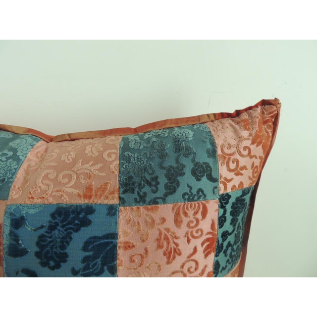 Pink and blue romance through the Gilded Age's Asian textiles patchwork square decorative pillow handcrafted from two...