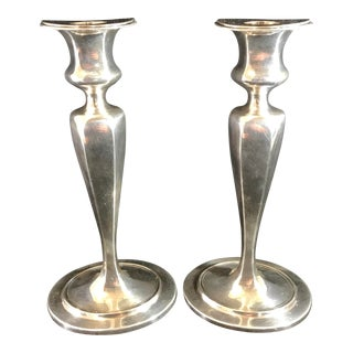 Tiffany and Co. Antique Signed Sterling Silver Candle Holders - a Pair For Sale