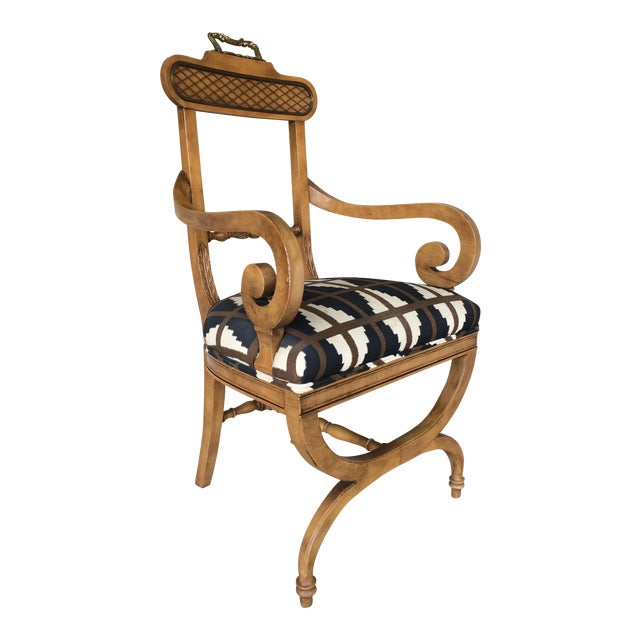 Baker Quality Regency Neoclassical Scroll Arm Accent Chair For Sale