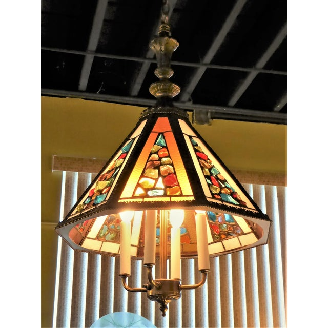 Brutal Stained Glass Modern Hollywood Regency Chandelier 1950s - Image 2 of 10