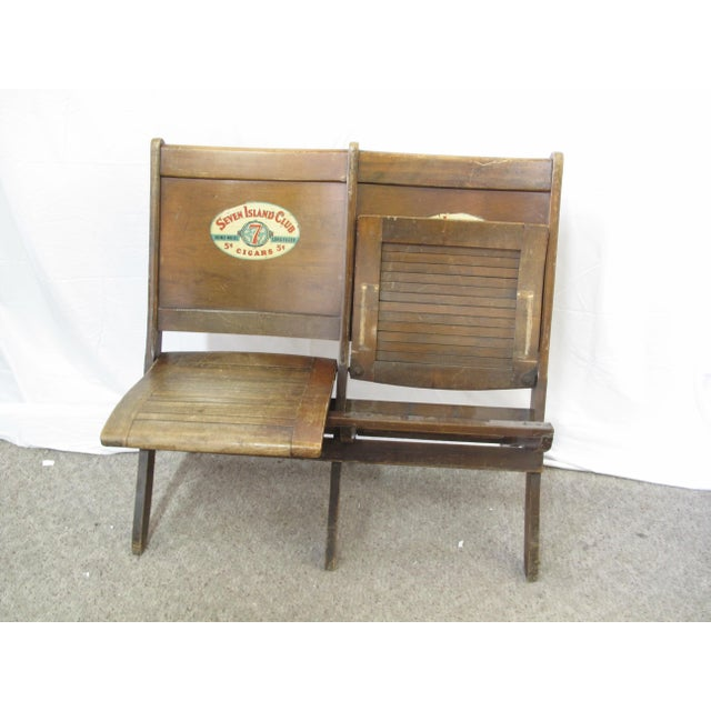 Pre War Seven Island Club Cigars Folding Double Bench For Sale - Image 4 of 9