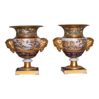 1813-1820 English Louis XV Style Porcelain Mason Vases - a Pair For Sale