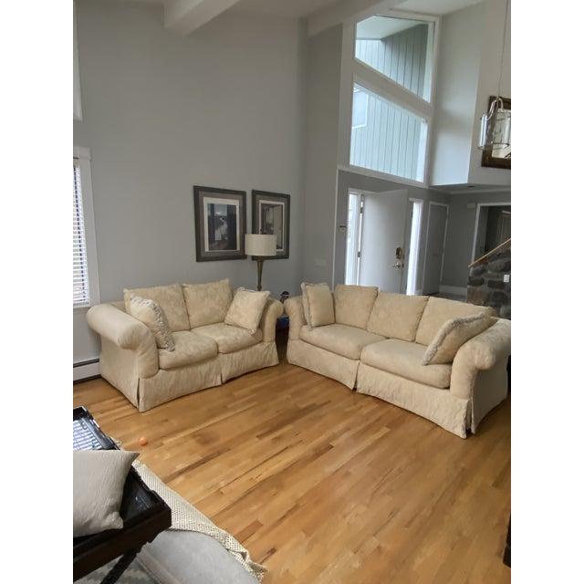 1980s Traditional Rolled Arm Sofa and Loveseat - A Pair For Sale - Image 13 of 13