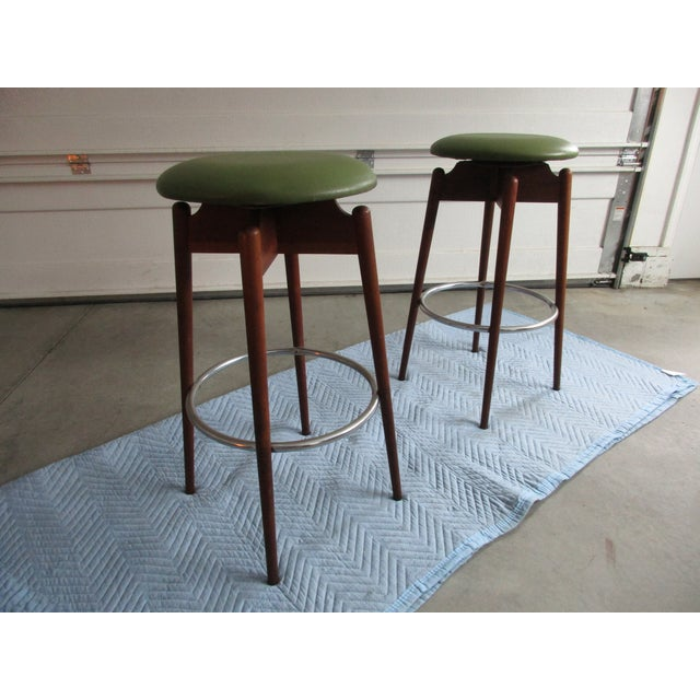 Danish Modern Floating Top Bar Stools - A Pair - Image 3 of 10