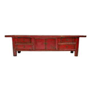 Red Mongolian Low Cabinet Bench