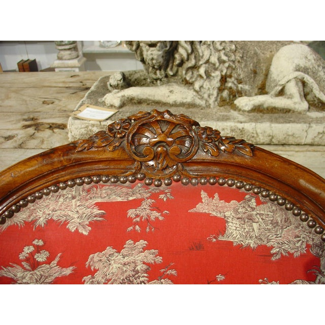 Wood Pair of Louis XV Style Walnut Fauteuils with Toile de Jouy Upholstery For Sale - Image 7 of 10
