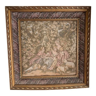 19th Century Antique French Framed Tapestry For Sale