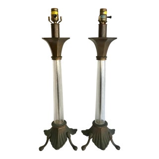 Pair of Chapman 1985 Brass and Glass Art Deco Lamps For Sale