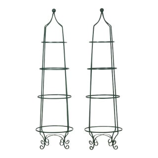 Pair of Vintage Green Painted Iron Etageres Displays W/ Glass Shelves, 20th Century For Sale
