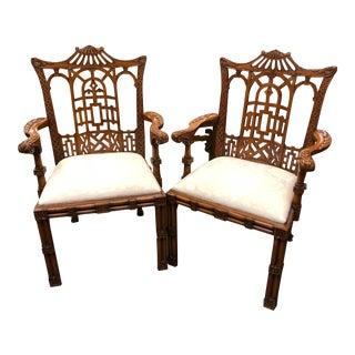20th Century Asian Ardley Hall Dining Chairs - a Pair