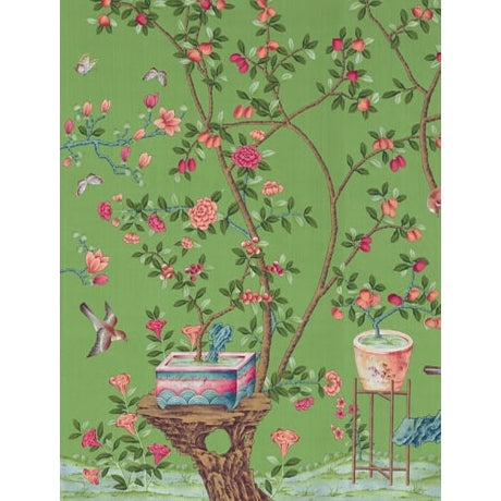 Chinoiserie Casa Cosima Emerald Fauna Wallpaper Mural - Sample For Sale - Image 3 of 3