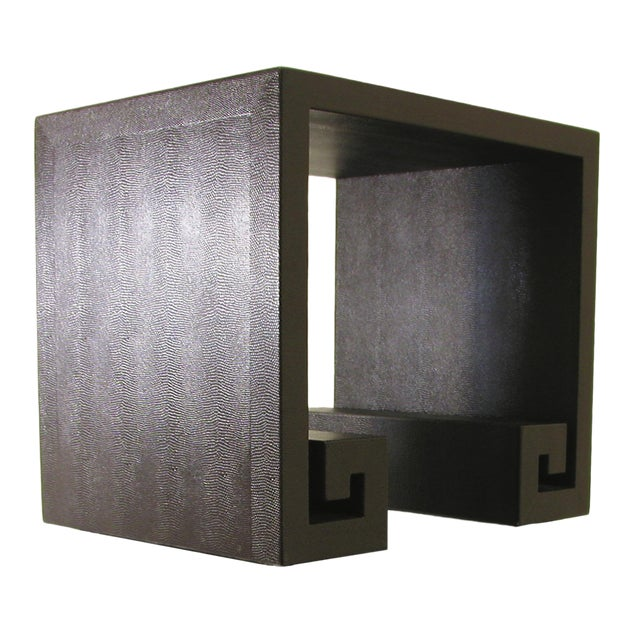 Modern Embossed Leather Greek-Key End Tables - a Pair For Sale