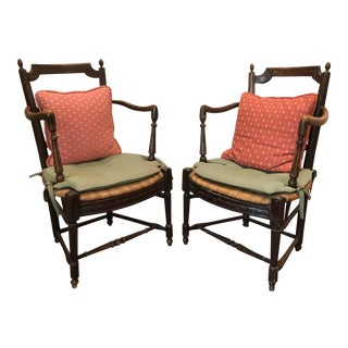 French Wood & Wicker Side Chairs - A Pair