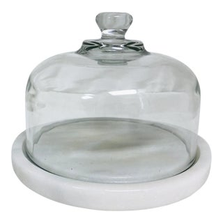 Vintage Quartz & Glass Covered Cheese Serving Dish For Sale
