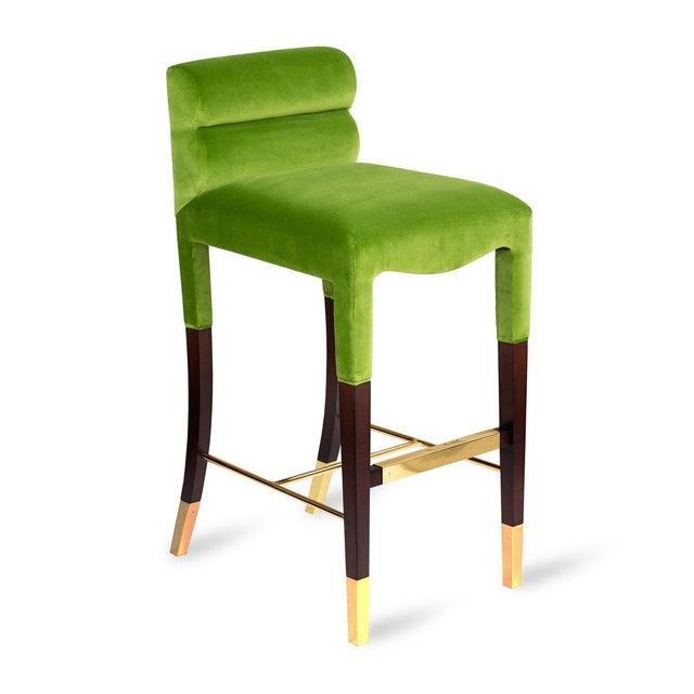 Not Yet Made - Made To Order Gardner Bar Stool in Green Velvet For Sale - Image 5 of 5
