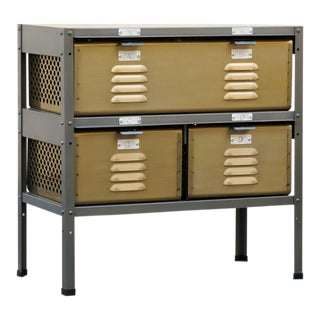 2 X 2 Locker Basket Unit in Brass Tone and Natural Steel, Custom Made to Order For Sale