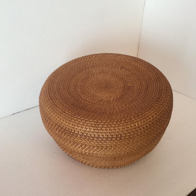 Brown Woven Basket & Lid For Sale - Image 8 of 11