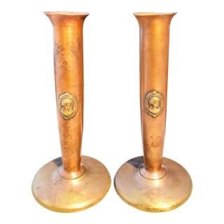 Benedict Studios Athenic Bronze Copper Cameo Bud Vases - A Pair For Sale