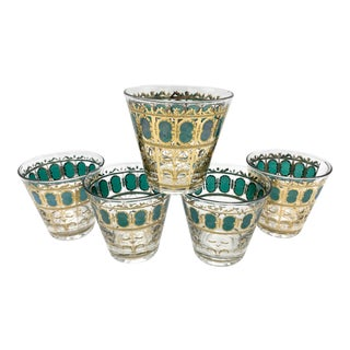 Mid-Century Culver Emerald Green Scroll Whisky Cocktail Glasses - Set of 5 For Sale