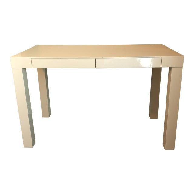 West Elm Parsons Desk White Lacquer Chairish - West elm white lacquer coffee table