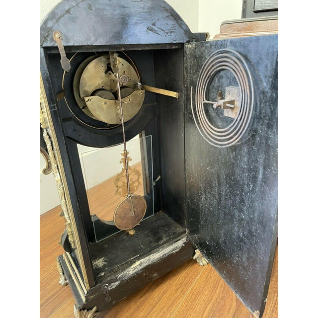 Black Antique Mid 19th Century French Mantel Clock With Case For Sale - Image 8 of 11
