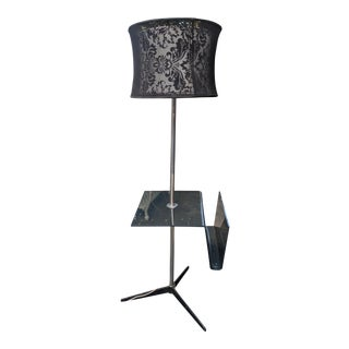 Mid-Century Modern Chrome Lucite Floor Lamp with Magazine Rack and Brocade Shade For Sale