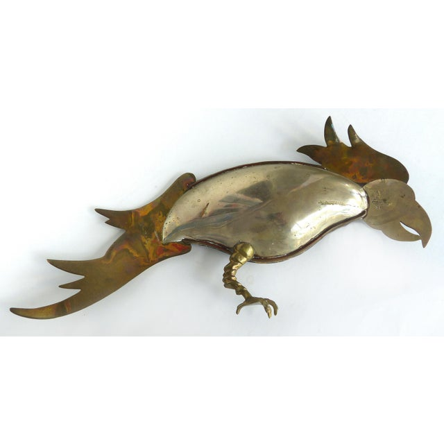 Los Castillo Mexican Mid-Century Modern Mixed Metal and Abalone Parrot Tray For Sale - Image 10 of 13