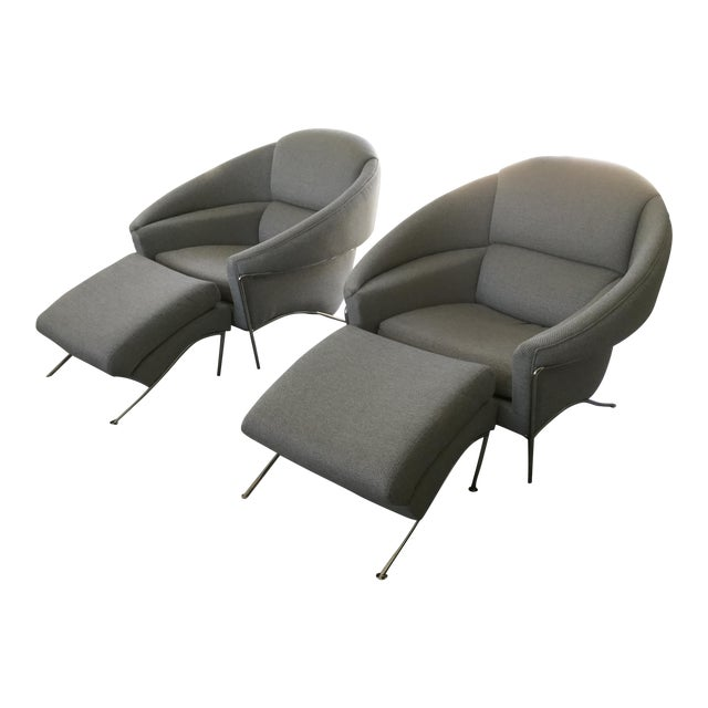 Modern Milo Baughman for Thayer Coggin Boldido Chairs and Ottomans- a Pair For Sale
