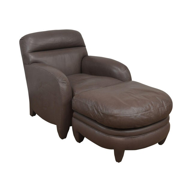 Donghia Leather Lounge Chair With Ottoman For Sale - Image 13 of 13