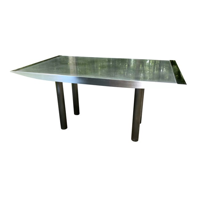 Stanley Friedman Stainless Steel Dining Table for Brueton For Sale