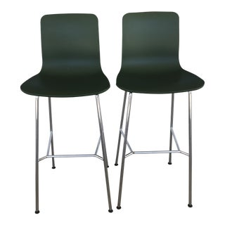 Contemporary Jasper Morrison for Vitra Hal Green High Stools - a Pair For Sale
