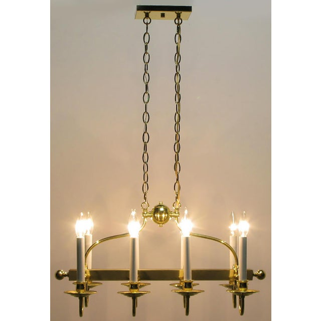 Gold Eight-Arm Linear Brass Rectangular Chandelier For Sale - Image 8 of 10