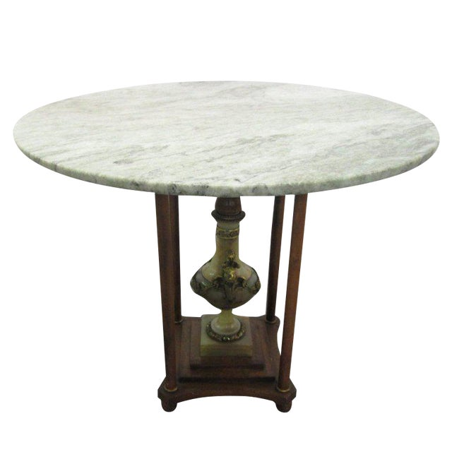 Italian Marble Center Table with Onyx Pedestal and Bronze Cherubs For Sale