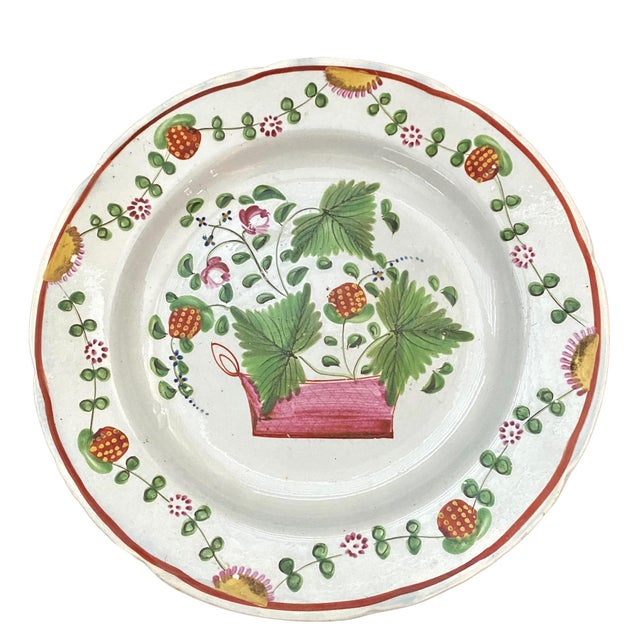 1800 English Soft Paste Strawberry Plate For Sale - Image 4 of 4