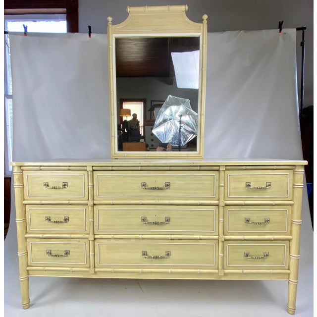 "Light Yellow 1960s Henry Link ""Bali Hai"" Faux Bamboo Dresser With Mirror For Sale - Image 8 of 8"