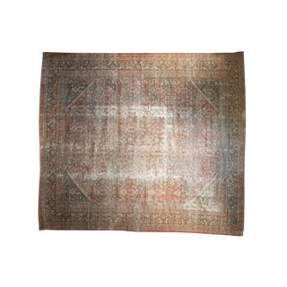 Vintage Distressed Mahal Square Carpet - 12' X 13'6""