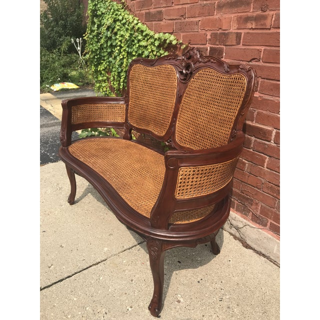 Vintage Italian Curved Caned Loveseat For Sale - Image 4 of 10