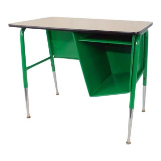 Mid-Century Kelly Green Petite Tanker Office Desk