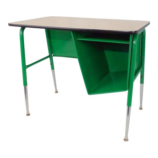 Mid-Century Kelly Green Petite Tanker Office Desk For Sale