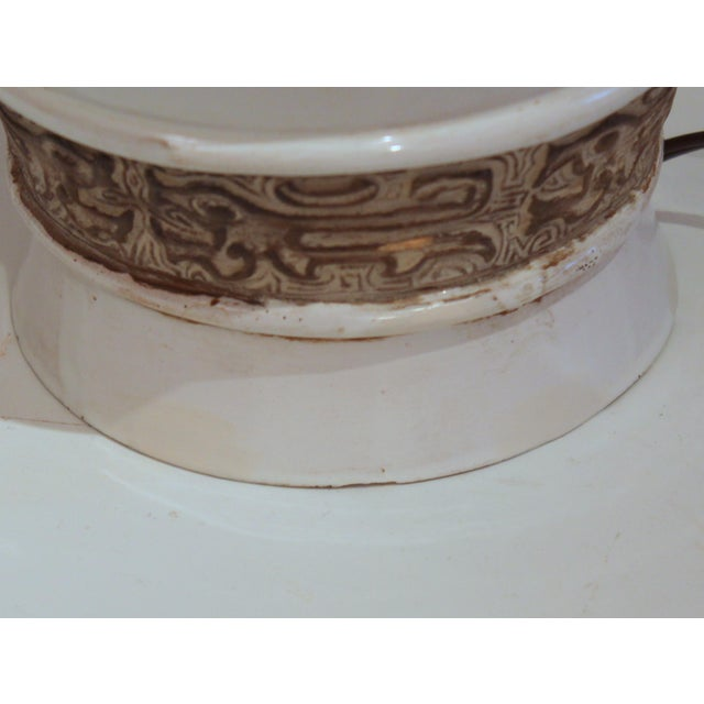 Ceramic 1960s Raymor Zaccagnini Pottery Italian Ming Style Mid-Century Modern Brown & White Lamp For Sale - Image 7 of 11