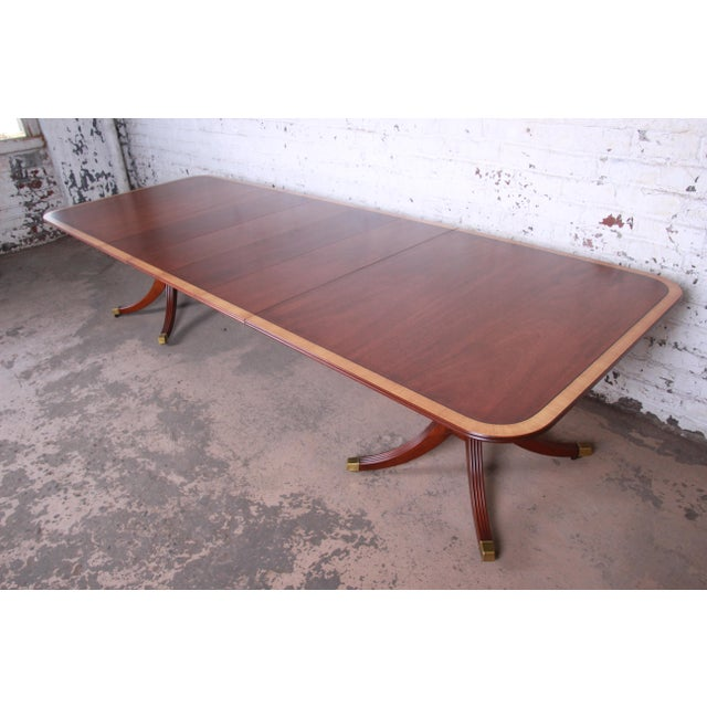 Kindel Furniture Georgian Style Banded Mahogany Double Pedestal Extension Dining Table For Sale - Image 11 of 12