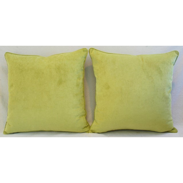 "Ultra Soft Apple Green Velvet Feather/Down Pillows 24"" Square - Pair For Sale - Image 4 of 10"