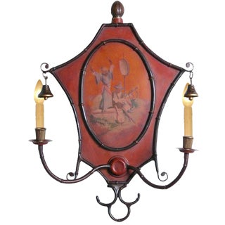 Italian Handpainted Metal Sconce For Sale