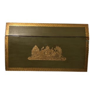 Green Florentine Lion and Unicorn Letter Box For Sale