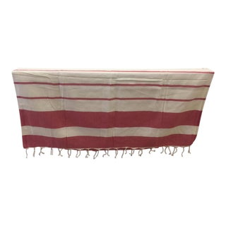 Turkish Red Striped Bath & Beach Towel For Sale