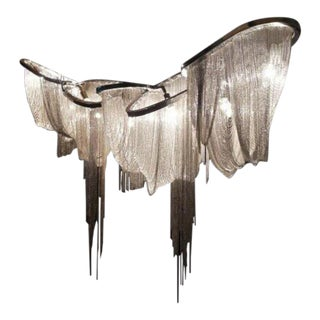 """Polished Nickel and Draped Chain Abstract Chandelier """"Pantheon"""" For Sale"""