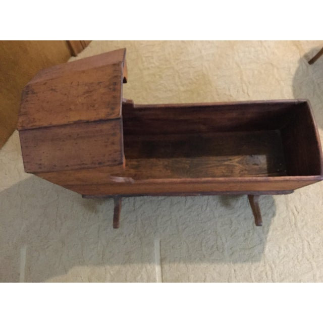 Boho Chic Early 1800's Handmade Primitive Rocking Cradle For Sale - Image 3 of 7