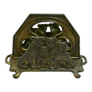 Antique Judd Cast Iron Bulldog Letter Holder For Sale