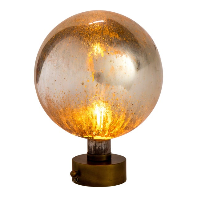 Mercury Glass Sphere Table Lamp For Sale